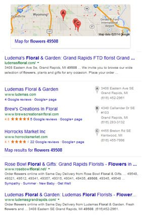 local business website mobile search engine results pages serps