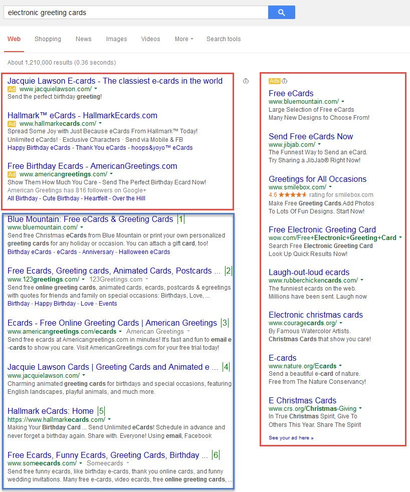 organic search engine results vs. paid ads